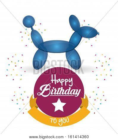 cute balloon dog happy birthday confetti ribbon vector illustration eps 10