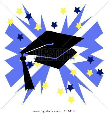 Grad Hat Blue Burst