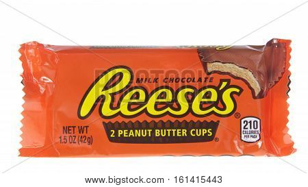 ALAMEDA, CA - JANUARY 01, 2016: Reese's Peanut Butter Cup candy. Reese's was first introduced in 1928 and is part of the Hershey Company.