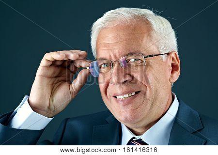 Portrait of a senior businessman wearing glasses