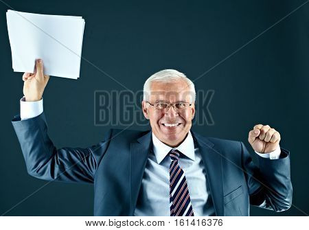 Portrait of a cheerful senior businessman with documents