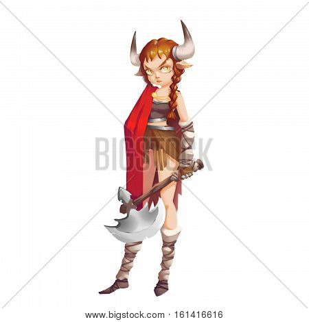 Cool Characters Series: Wild Savage Viking Girl Warrior isolated on White Background. Video Game's Digital CG Artwork, Concept Illustration, Realistic Cartoon Style Background and Character Design
