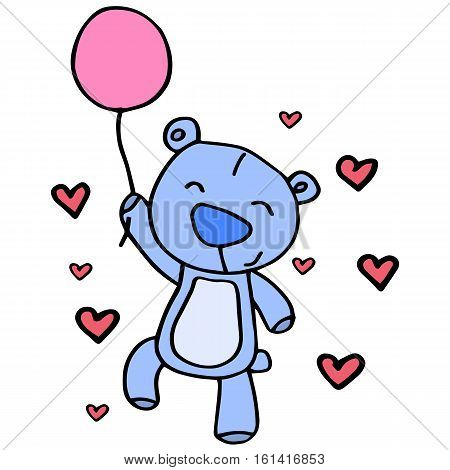 Character bear with balloon vector collection stock