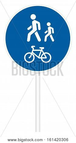 Prescriptive traffic sign isolated on white 3D illustration - Pedestrian and Bicycle path