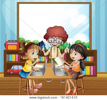 Kids working in classroom illustration