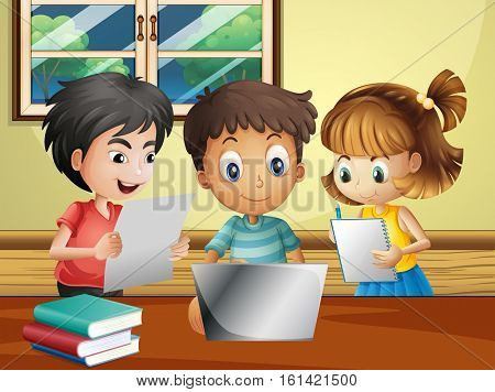 Kids doing homework with computer