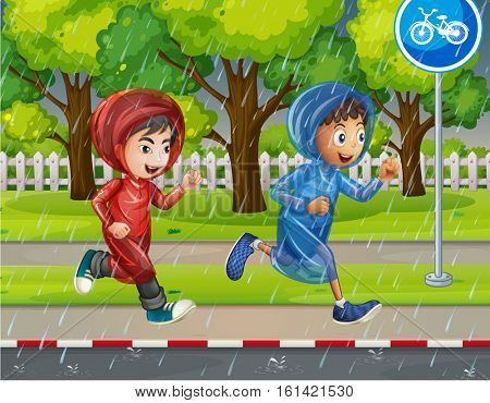 Two boys in raincoat running on pavement illustration