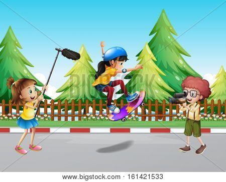 Kids shooting vdo of girl skateboarding in the park illustration