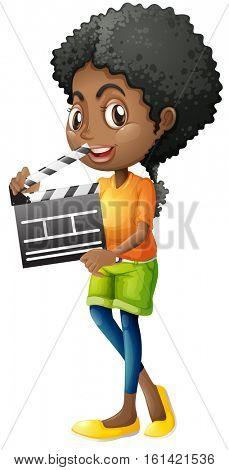 Girl holding clapboard on white background illustration