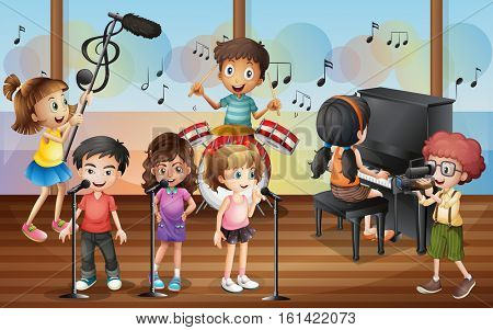 Boy shooting friends singing in the concert illustration