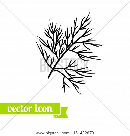 dill flat icon vector for web design, logo and lable. herb icon, dill pictogram