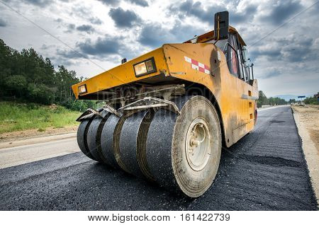 New road construction paving asphalt repair vehicle
