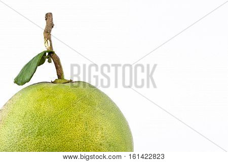 close up fresh green pomelos on white background healthy fruit food isolated