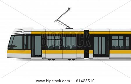 Commuter Train isolated on white background. 3D render