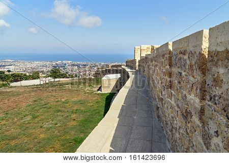 Wall In Naryn-kala Fortress And View Of Derbent City.