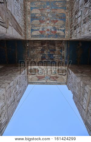 Bas-relief details of the Medinet Habu temple entrance, Luxor, Egypt