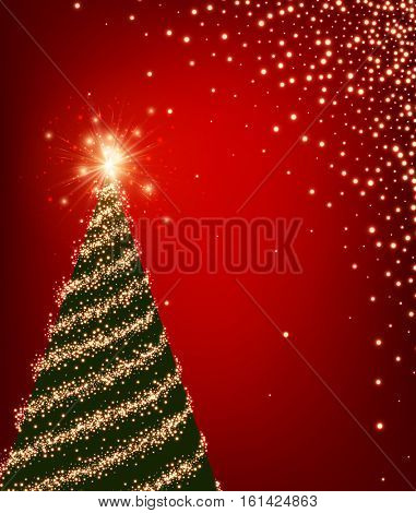 Red luminous background with green Christmas tree. Vector illustration.