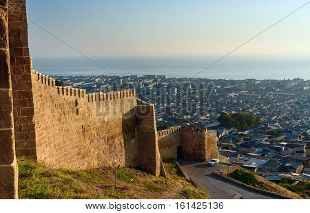 Wall Of Naryn-kala Fortress And View Of Derbent City.