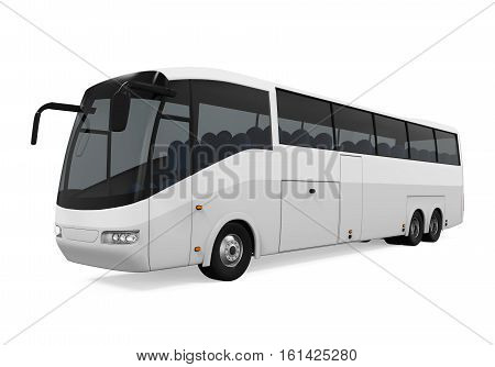 White Tour Bus isolated on white background. 3D render