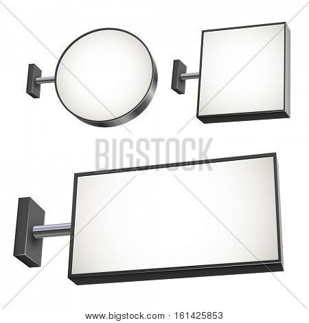 Blank wall mounted street shop advertisement sign vector set.