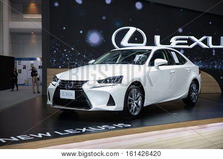 BANGKOK - November 30: Lexus IS 300h car on display at Motor Expo 2016 on November 30 2016 in Bangkok Thailand.