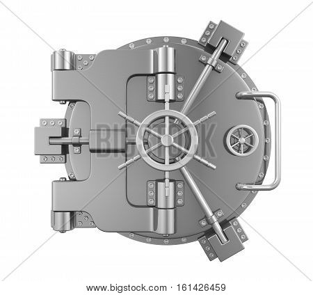 Close Bank Vault Door . 3D rendering