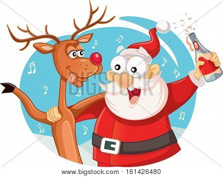 Santa Claus and his Reindeer Drinking and Celebrating Christmas