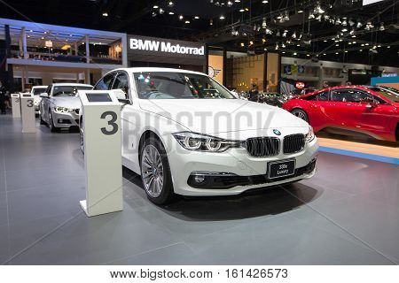 BANGKOK - November 30: BMW 330e Luxury car on display at Motor Expo 2016 on November 30 2016 in Bangkok Thailand.