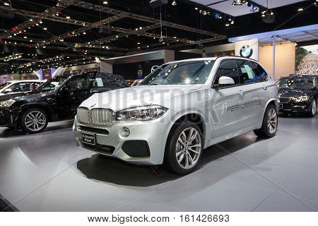 BANGKOK - November 30: BMW X5 xDrive40e M Sport car on display at Motor Expo 2016 on November 30 2016 in Bangkok Thailand.