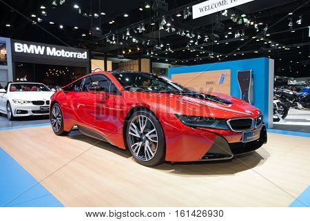 BANGKOK - November 30: BMW i8 Protonic Red Edition car on display at Motor Expo 2016 on November 30 2016 in Bangkok Thailand.