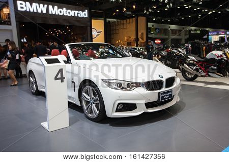 BANGKOK - November 30: BMW 420d Convertible Msport car on display at Motor Expo 2016 on November 30 2016 in Bangkok Thailand.