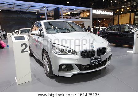 BANGKOK - November 30: BMW 218i Active Tourer M sport car on display at Motor Expo 2016 on November 30 2016 in Bangkok Thailand.