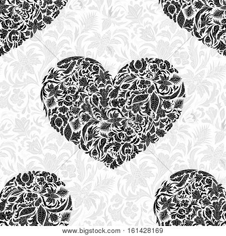 Fine seamless vector pattern with ornate hearts. Black floral hearts decor on white background. Exquisite wallpaper in Eastern style, vintage backdrop, ornate texture. Two colors print