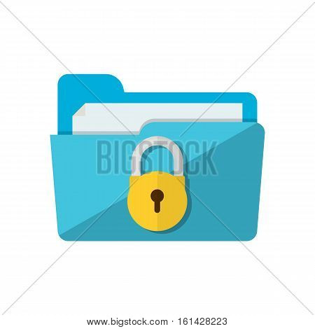 folder lock icon. File protection. Data security and privacy concept. Safe confidential information. Modern flat design vector illustration concept for web banners, web and mobile app, web sites