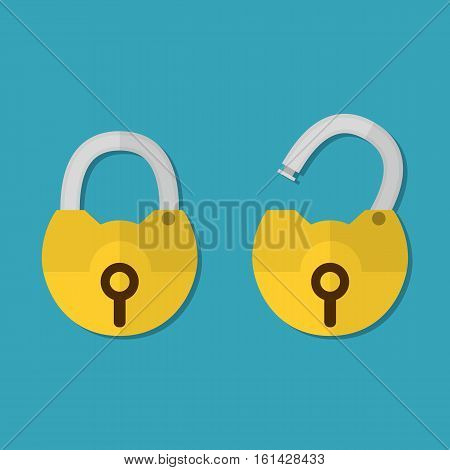 Opened and closed lock icons isolated on blue background, yellow padlocks shapes flat illustration concept for web banners, web and mobile app, web sites, printed materials, infographics