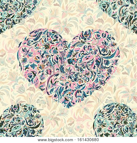 Colorful ornate floral hearts seamless pattern. Doodle style. Hand painted flowers heart. Vector illustration
