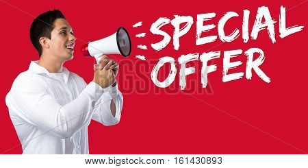 Special Offer Sale Shopping Shop Retail Young Man Megaphone