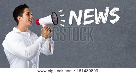 News Media Announcement Announce Information Young Man Megaphone