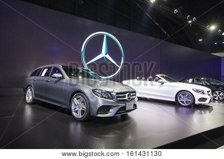 BANGKOK - November 30: Mercedes-benz E 220 d Estate car on display at Motor Expo 2016 on November 30 2016 in Bangkok Thailand.