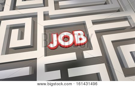 Get Job Find Open Work Position Interview Maze 3d Illustration