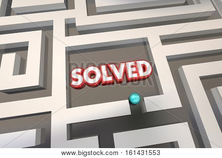 Solved Maze Problem Solution 3d Illustration