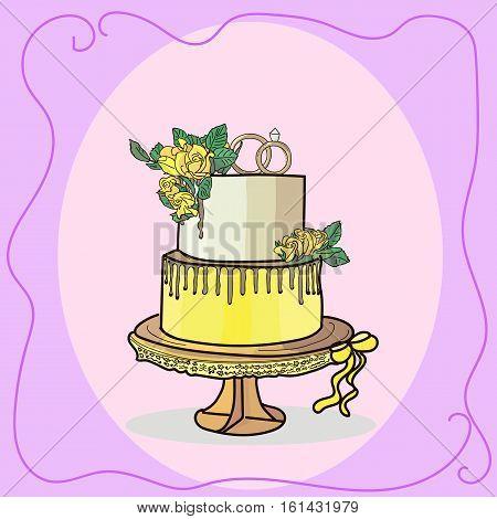two tier high wedding cake vector illustration