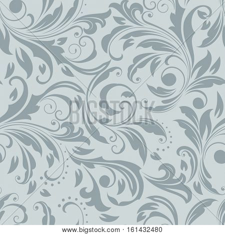 Seamless grey and white floral vector pattern. Wrapping paper, wallpaper, upholstery print template.