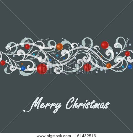 Abstract Christmas seamless border dark grey vector card.