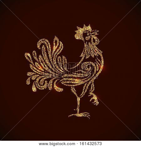 Gold rooster shape tinsel placer vector card. 2017 New Year Chinese symbol.