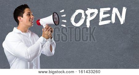Open Shop Restaurant Cafe Supermarket Retail Business Concept Young Man Megaphone