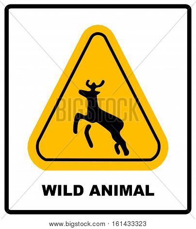 Wild animal road symbol in yellowtriangle isolated on white. Beware deer crossing warning traffic signs. Vector illustration