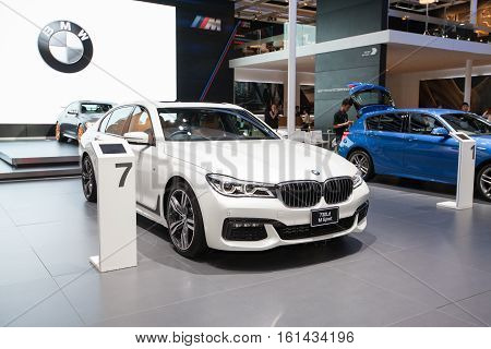 BANGKOK - November 30: BMW 730Ld Msport car on display at Motor Expo 2016 on November 30 2016 in Bangkok Thailand.