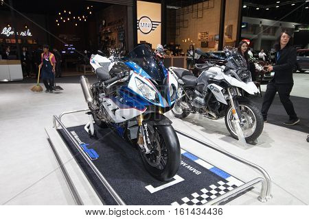 BANGKOK - November 30: BMW S1000 motorcycle on display at Motor Expo 2016 on November 30 2016 in Bangkok Thailand.