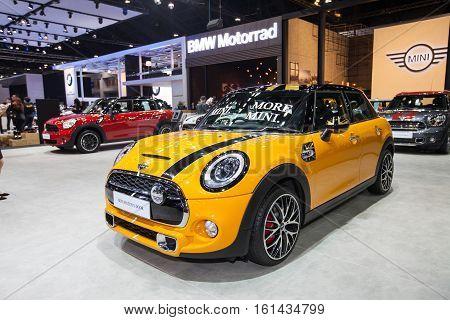 BANGKOK - November 30: Mini Hatch 5 Door car on display at Motor Expo 2016 on November 30 2016 in Bangkok Thailand.